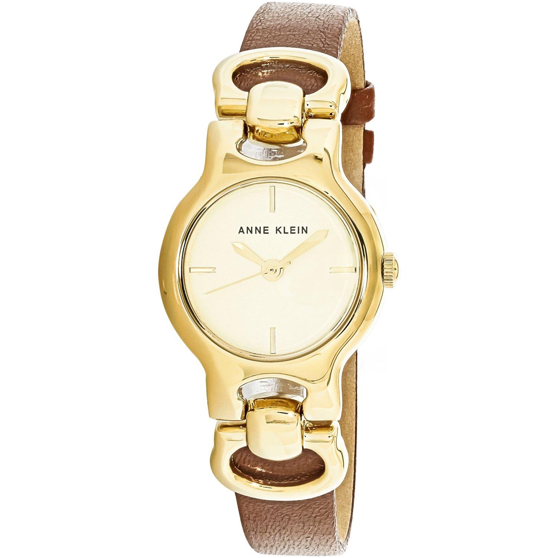 Anne Klein Women's AK-2630CHBN Gold Leather Quartz Fashion ...