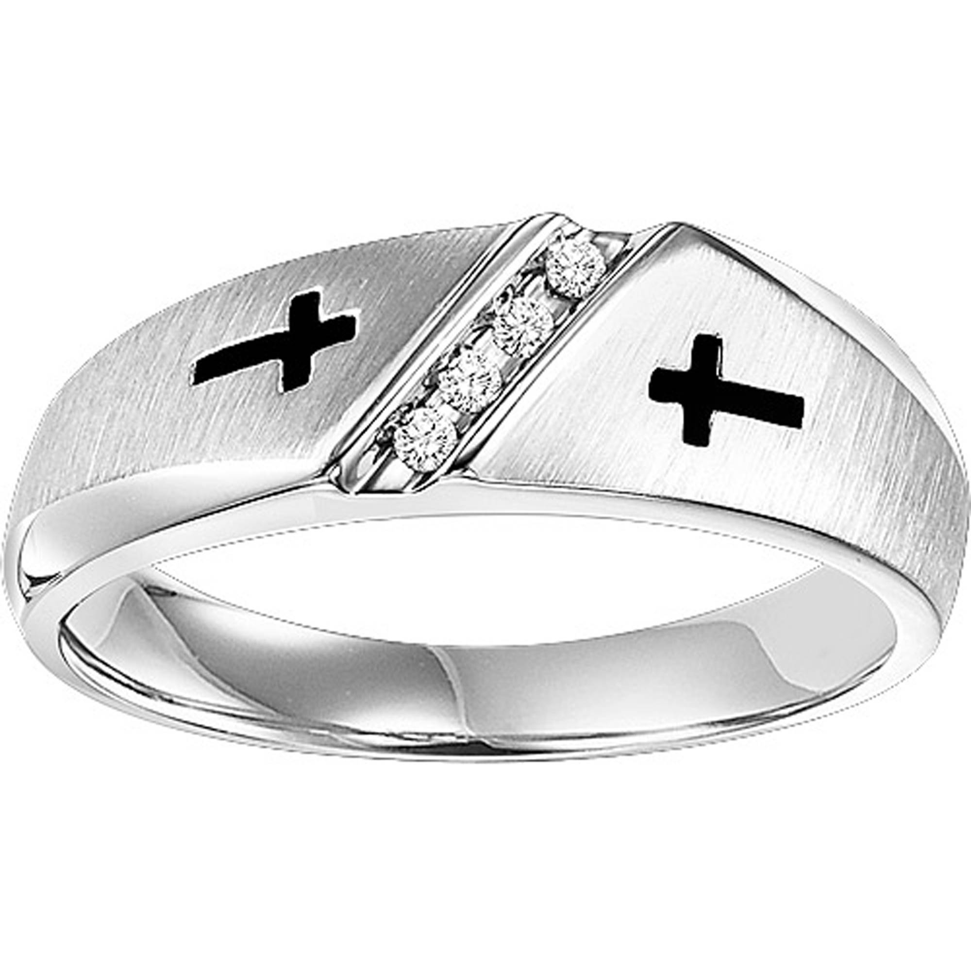 Forever Bride 1/20 Carat T.W. Diamond Sterling Silver Cross Band