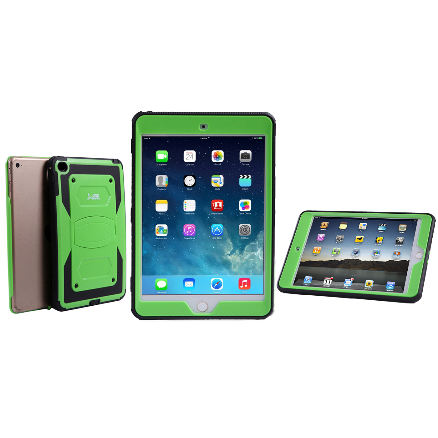 HDE iPad Mini 4 Hard Case for Kids Heavy Duty [Shockproof] Full Body Cover Stand with Built-In Screen Protector (Green)
