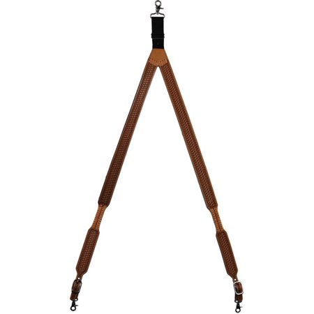 Natural Belting Leather (Size one size Men's Leather Hand Tooled Suspenders, Natural )