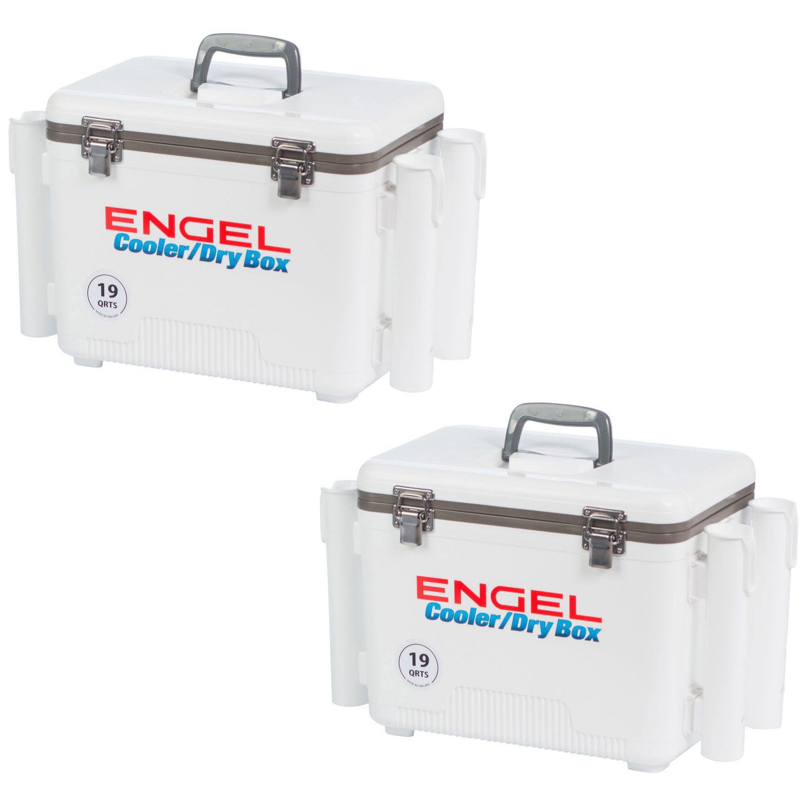 Engel 19 Qt. Fishing Rod Holder Attachment Insulated Dry Box Ice Cooler (2 Pack)