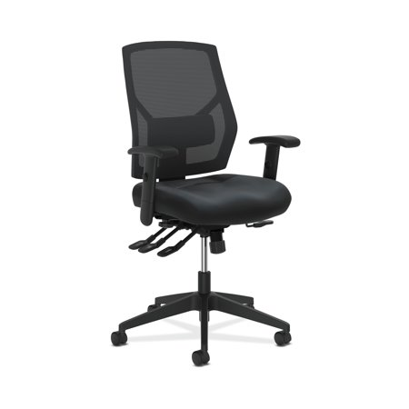 HON Crio High-Back Task Chair - Leather Mesh Back Computer Chair with Asynchronous Control for Office Desk, Black (HVL582) Asynchronous Control Swivel Tilt Seat