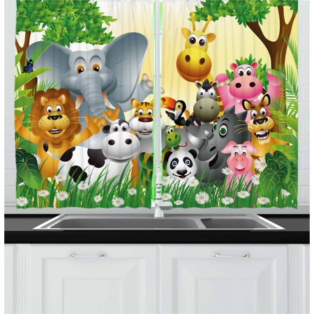 Kids Curtains 2 Panels Set, Cute Animals in Jungle Elephant Giraffe Panda Bear Pig Lion Hippo Rhino Cartoon Art, Window Drapes for Living Room Bedroom, 55W X 39L Inches, Multicolor, by Ambesonne