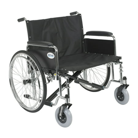 Wide Detachable Full Arms - Drive Medical Sentra EC Heavy Duty Extra Wide Wheelchair, Detachable Full Arms, 30