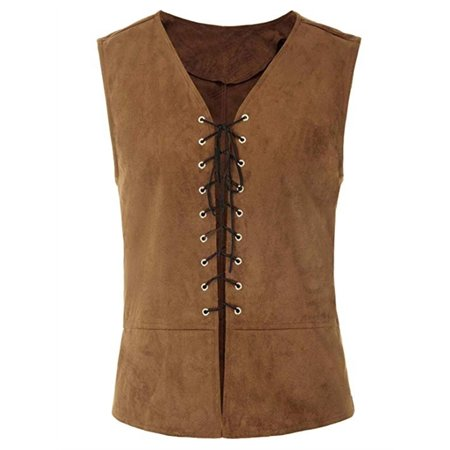 Dark Brown Jacket (Men Renaissance Vest Knight Sleeveless Lace Up Waistcoat Plus)