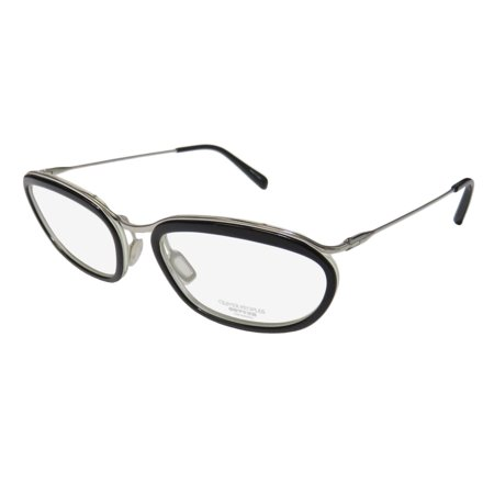 New Oliver Peoples Massine Womens/Ladies Designer Full-Rim Titanium Black / Silver Spectacular Titanium Frame Demo Lenses 52-18-133 Eyeglasses/Eyeglass Frame ()