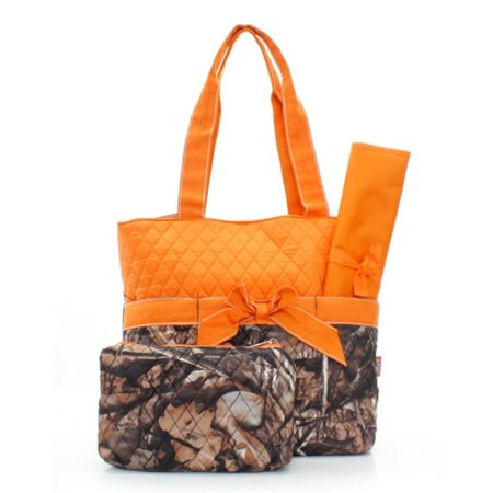 Quilted Orange And Natural Camo Print Monogrammable 3 Piece Diaper Bag With Changing Pad Tote Bag, Size: 12.5 Inches Length X 13 Inches Height X 5.0.., By Athena From USA](Athena Adult)