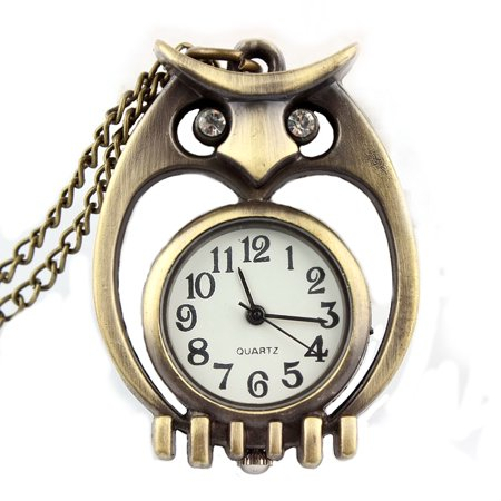 Antique Copper Color Open Owl Pendant Watch Necklace Clock Tarnish Resistant Crystal Eyes, WP-23