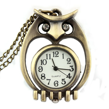 Eyed Owl Pendant - Antique Copper Color Open Owl Pendant Watch Necklace Clock Tarnish Resistant Crystal Eyes, WP-23