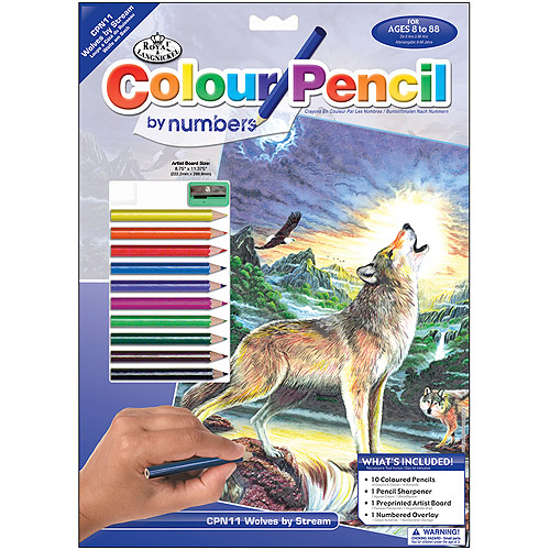 "Colour Pencil By Number Kit 8, 3/4""x11-3/4"", Wolves By Stream"