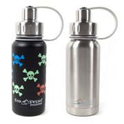 Eco Vessel Twist Kids Triple Insulated Stainless Steel Bottle, 2 Pack, Black/Silver