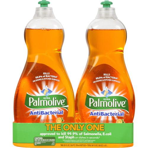 Ultra Palmolive Concentrated Antibacterial Orange Dish Liquid, 25 oz, 2ct