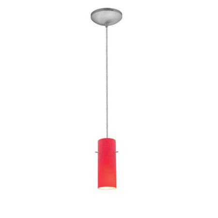 Sydney Cylinder 28030-1C-BS-RED 1 Light Cylinder Glass Pendant in Brushed Steel with Red Glass - image 1 of 1