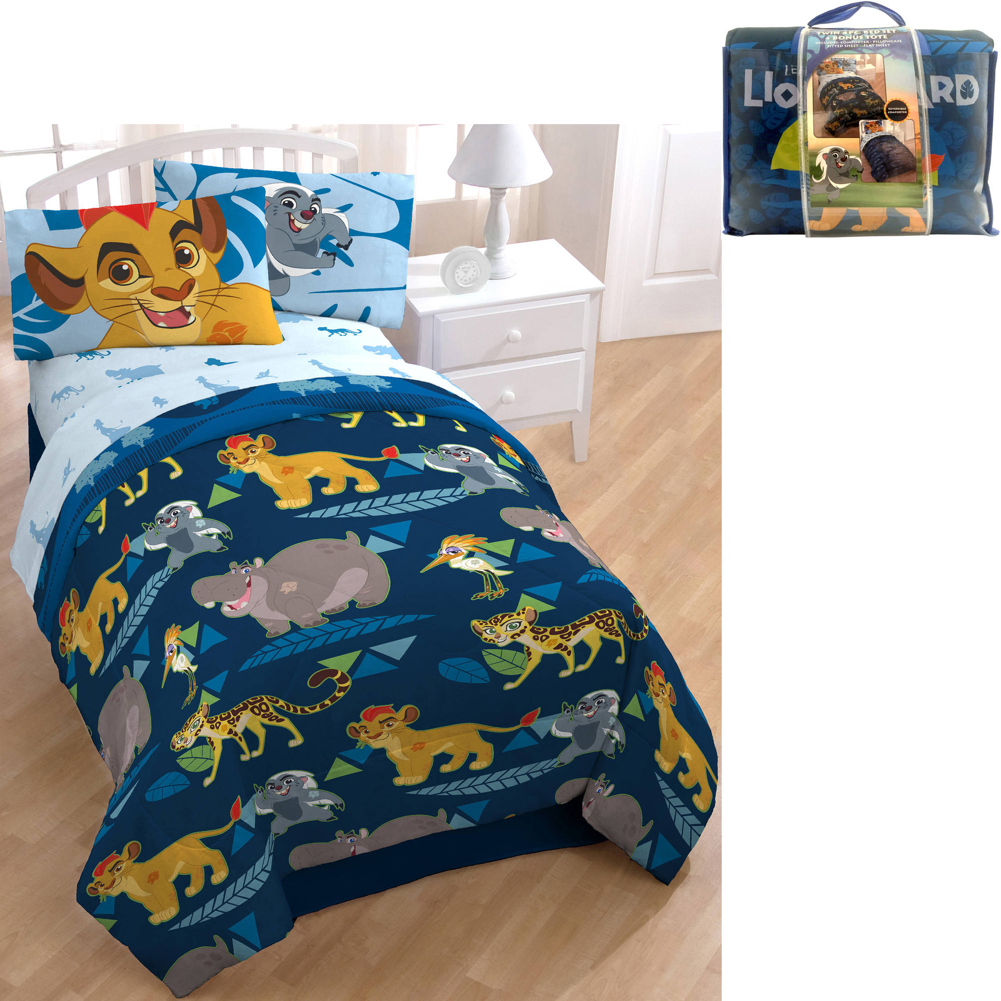 disney lion guard bed in a bag 5 piece twin bedding set with bonus tote