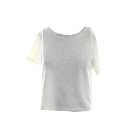 Bar Iii Ivory Textured Short-Sleeve Boxy Crop Top S