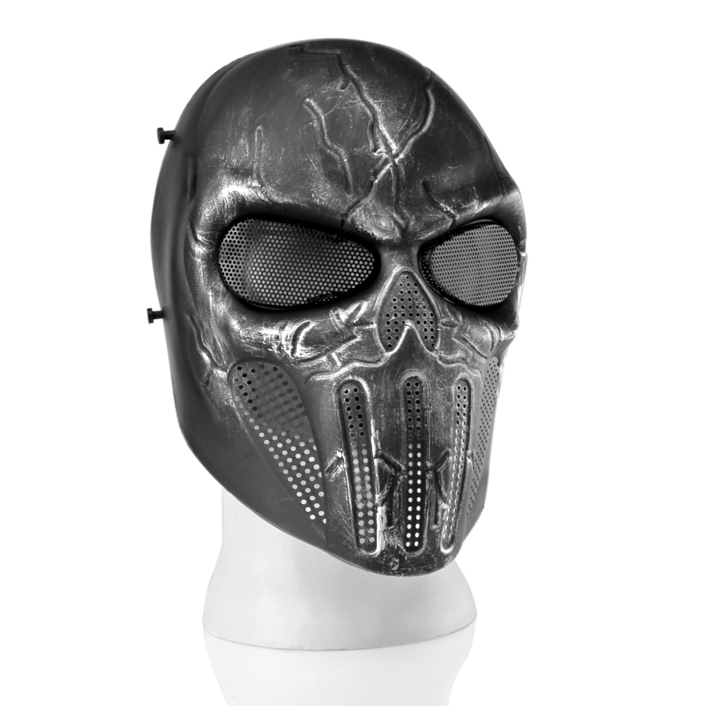 Airsoft Paintball Mask Full Face Skull Skeleton Metal Mesh Eye BB Field Protection Safety Guard Silver Gray Revenger for... by
