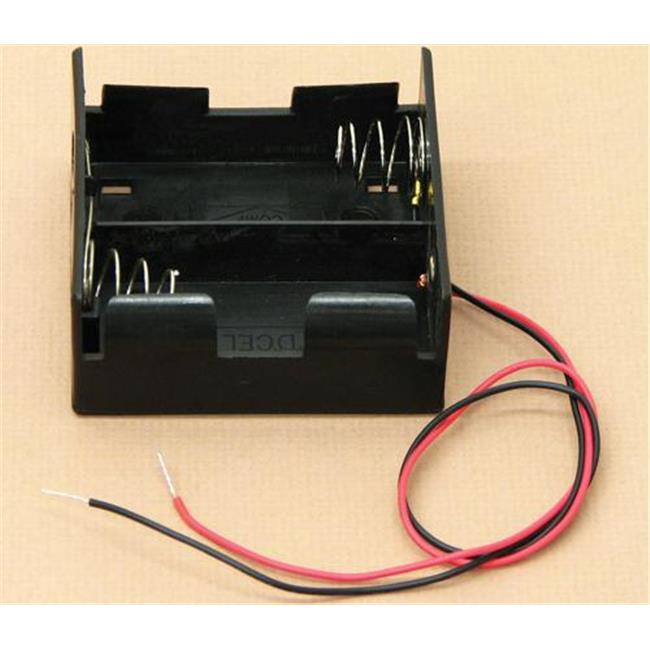 Olympia Sports 16886 Battery Holder With Wires - D Cell - Double