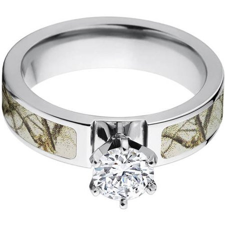 1 Carat T.G.W. Round CZ in 14kt White Gold Setting Cobalt Camo Engagement Ring with a RealTree Snow Camo Inlay thumbnail