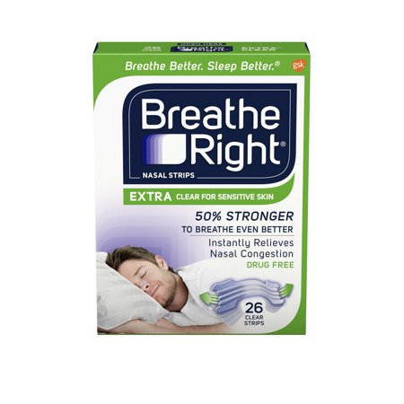 Breathe Right Nasal Strips To Stop Snoring  Drug Free  Extra Clear  26 Count