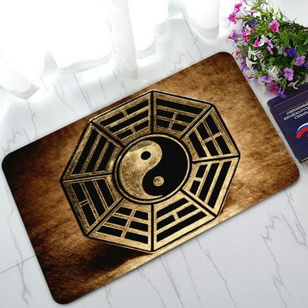 Yin Yang Rug (PHFZK Zen Art Doormat, Old Vinatge Yin Yang Symbol Peace Doormat Outdoors/Indoor Doormat Home Floor Mats Rugs Size 30x18)