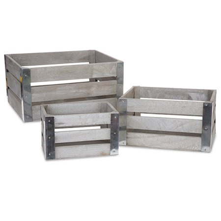 Rect Wooden Crate with Metal Corner Set of Three - Antique Grey
