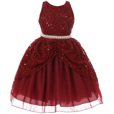 Little Girl Brocade Lace Sequin Pearl Pageant Easter Wedding Flower Girl Dress Burgundy 6 CB 1711 BNY