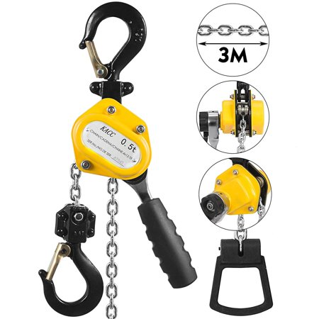 BestEquip 1/2 Ton Lever Block Chain Hoist 3M 10Ft Chain Hoist G80 Chain Ratchet Lever Hoist w/ Hook