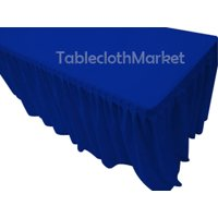 """5' Fitted Table Skirting Cover w/Top Topper Single Pleated Trade show Royal Blue"""""""