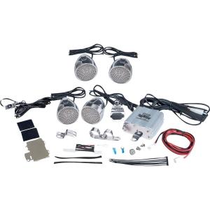 1200 Watts Motorcycle/ATV/Snowmobile Mount Amplifier w/Dual Handle-Bar Mount Aluminum Diecast Weatherproof Speakers w/ iPod/MP3 Input & USB Charger
