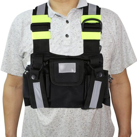 Radio Harness Chest Rig Bag Front & back Reflective Double Pocket Holster Vest - image 3 de 9
