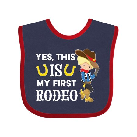 Yes, this IS my First Rodeo- cowboy in hat and boots Baby Bib Navy and Red One Size - 1st Birthday Hat And Bib
