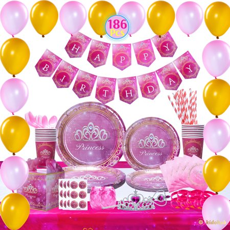 Themed Party Supplies (Kidohub Princess Pink Theme Birthday Party Supplies Bundle Pack 186 Pcs Serves)