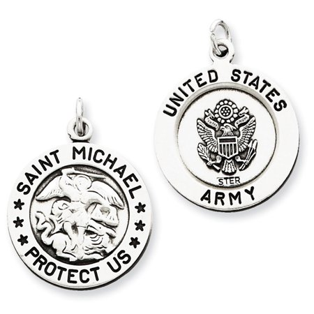 Sterling Silver Antiqued Riversible Saint Michael Army -