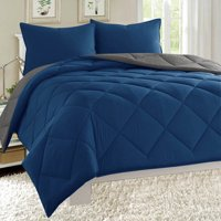 Down Alternative Dayton 3-Piece Reversible Comforter Set - Navy & Gray - King Size