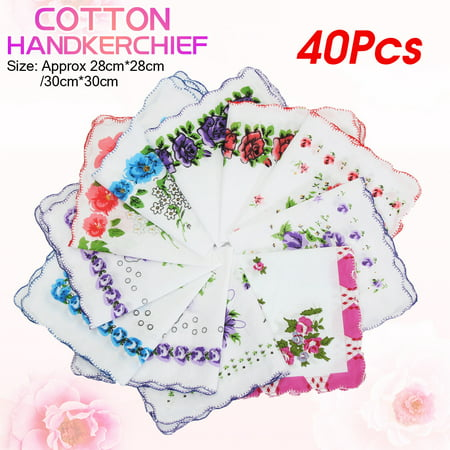 40Pcs Vintage Style Floral Flowers Handkerchief Lady Women Mocket Cotton Hanky