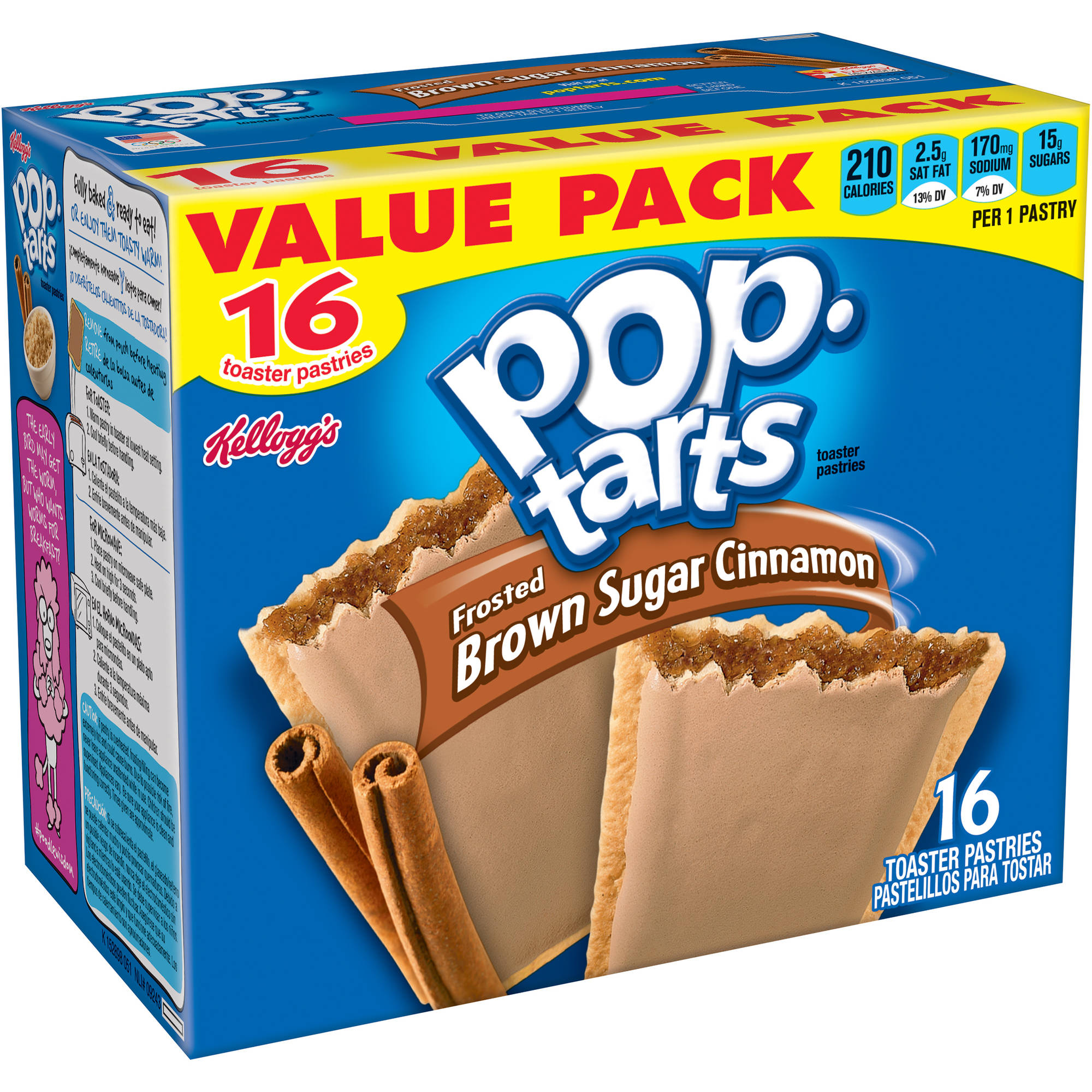 Kellogg's Brown Sugar Cinnamon Pop-Tarts Toaster Pastries, 16 count
