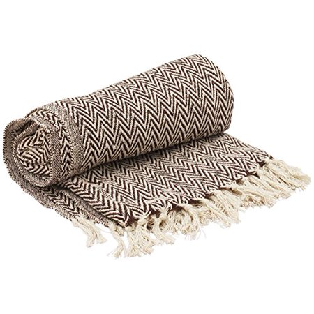 CHRISTMAS AND HOLIDAY GIFTS -   SouvNear Throws - 65 x 52 Hand-Woven 100% Cotton Throw Blanket Brown & White Reversible with Tassels Throws for Couch Sofa Chair -