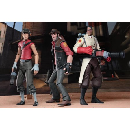 NECA Team Fortress 2 7? Scale Series 4 RED Action Figures Medic Scout Sniper