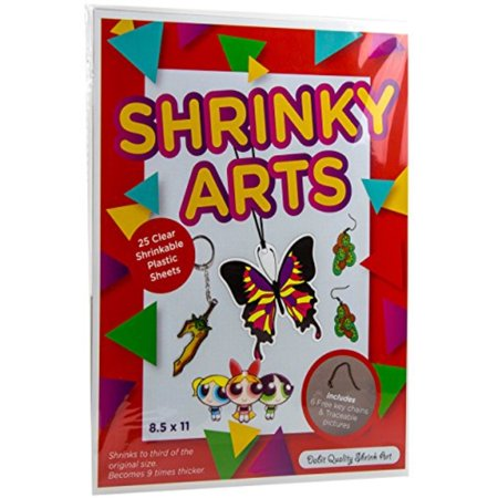 Dabit Shrinky Art Paper 25-Pack, Shrinkles That's Fun for Kids and Adults for Classroom, Easy Creation of Shrink Film Art & Crafts, Bonus Key Chains and Traceable Pictures