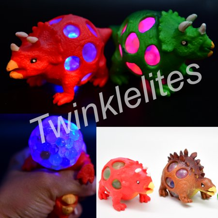 (12 Pack) Dinosaur Light Up Mesh Balls LED Squishy Squeeze Sensory Fruity Stress Fidget](Ball That Lights Up)