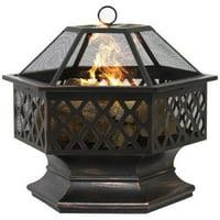 Fire Pit Hex Shaped Patio Outdoor Home Garden Backyard Firepit Bowl Fireplace