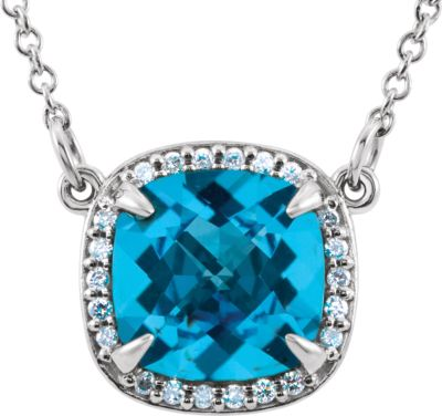 "14kt White Swiss Blue Topaz & .06 CTW Diamond 16"""" Necklace 85904   14Kt White   Swiss Blue Topaz   Swiss Blue... by Midwest Jewellery"