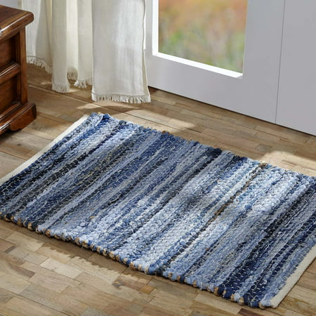Denim Blue Farmhouse Flooring Natural Hemp and Blue Denim Cotton Denim Rectangle Accent Rug