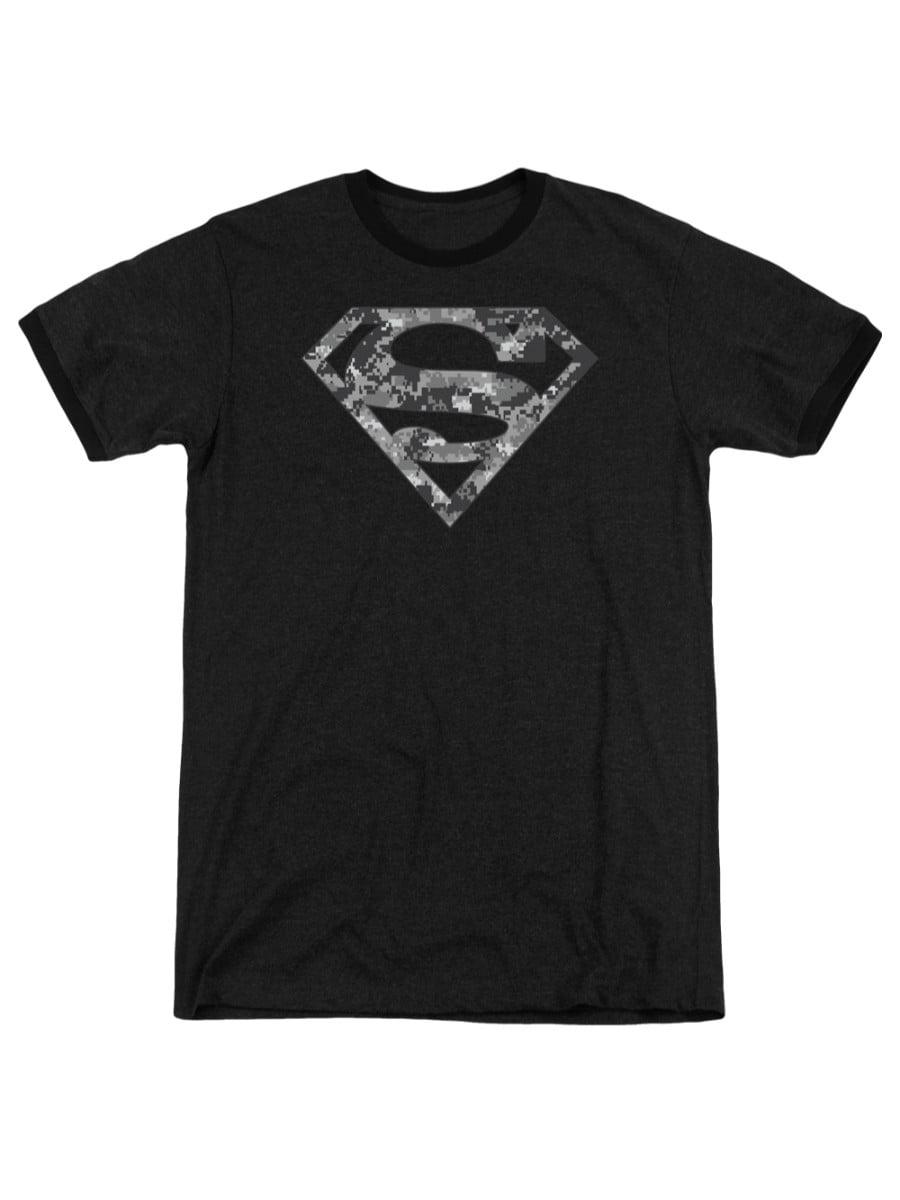 Superman-Red /& White Shield Adult Ringer T-Shirt