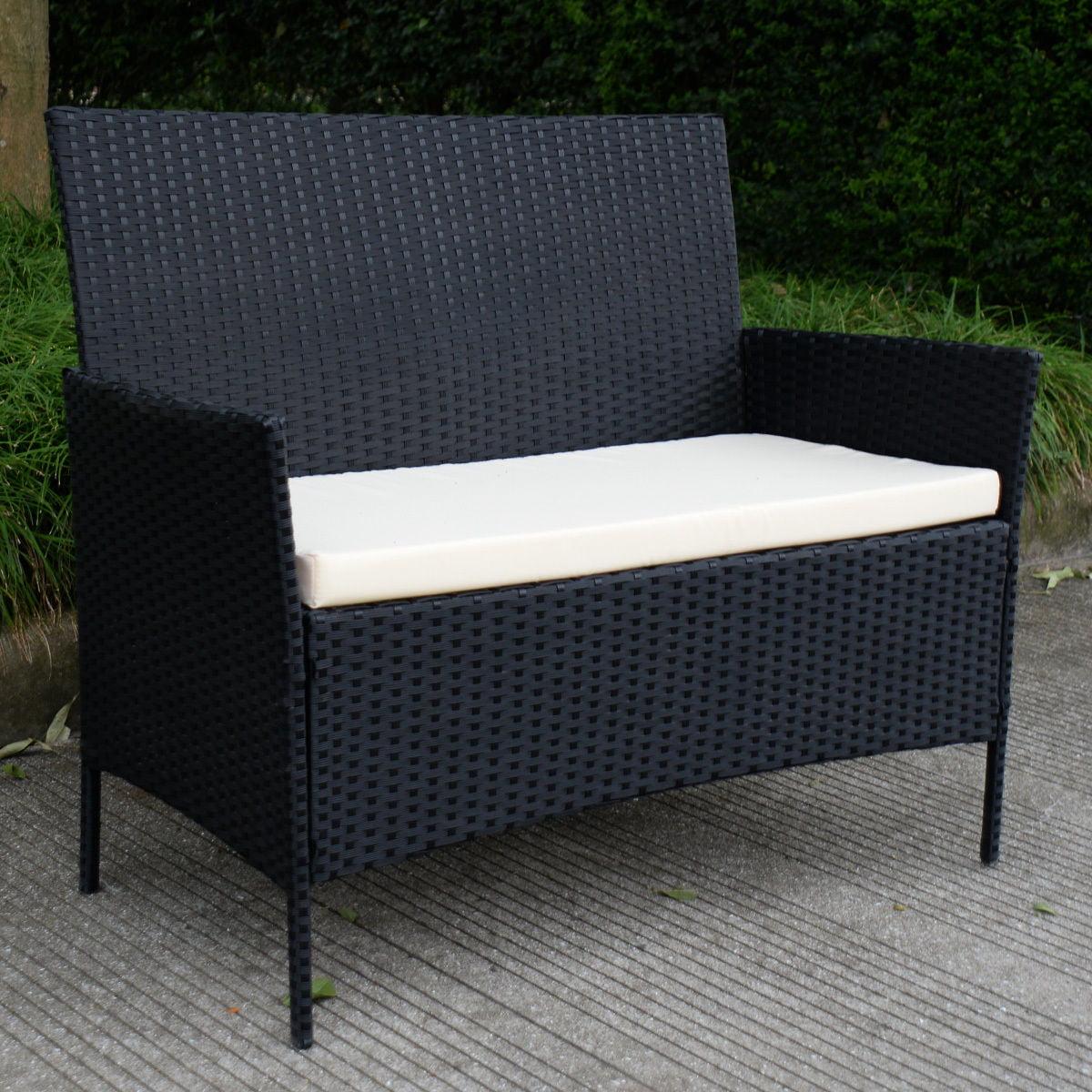4pcs Patio Rattan Sofa Set Loveseat Cushioned Furniture Outdoor Garden - image 8 of 9
