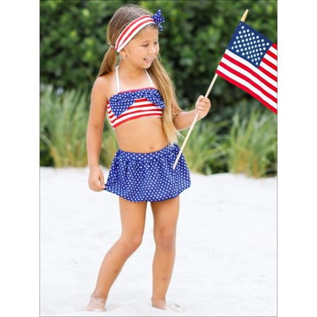 2db98e2792 Girls 4th of July Skirted Two Piece Swimsuit with Headband, Size: L-5Y