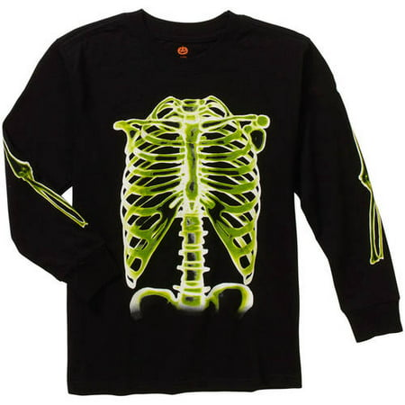 happy halloween boys black glow in the dark skeleton long sleeve shirt