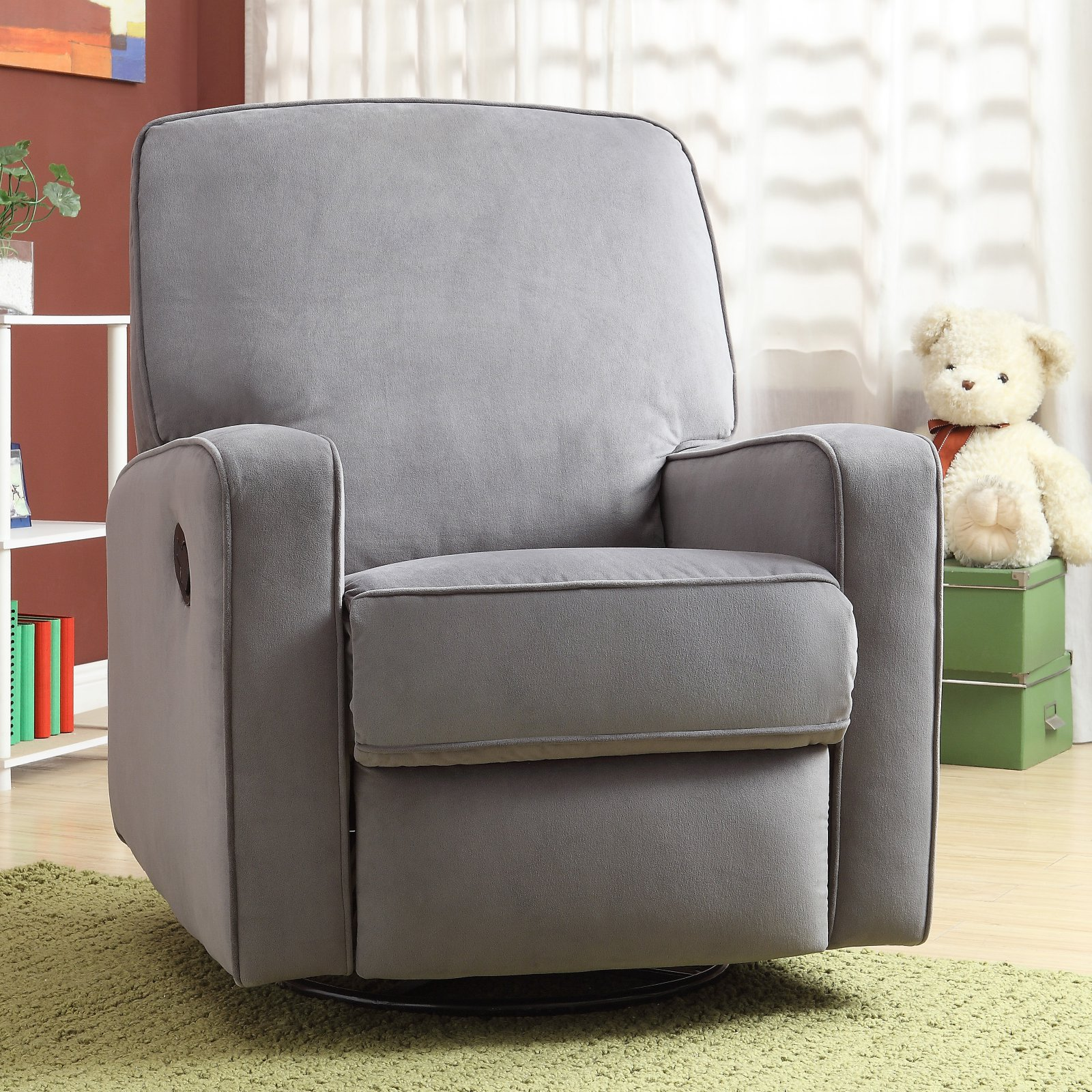 Home Meridian International Sutton Swivel Glider Recliner Stella Zen, Gray
