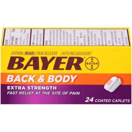 Bayer Back & Body Extra Strength Pain Reliever Aspirin w Caffeine, 500mg Coated Tablets, 24 Ct