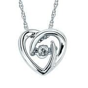 Boston Bay Diamonds  925 Sterling Silver .05ct TDW Diamond Heart Pendant w/ Chain
